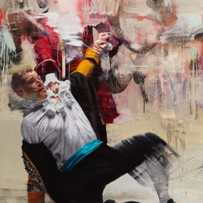 Conor Harrington - How on Earth Did We Get Here, Oil and spray paint on linen, 200cm x 150cm, 2015