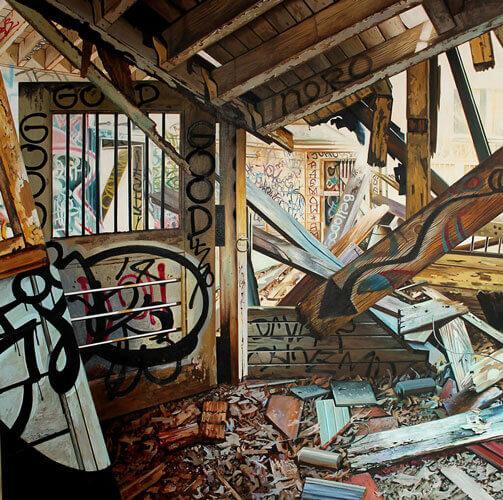 Jessica Hess, Murphy-Ranch-III, 2019, oil and acrylic on canvas 111cm x 111cm
