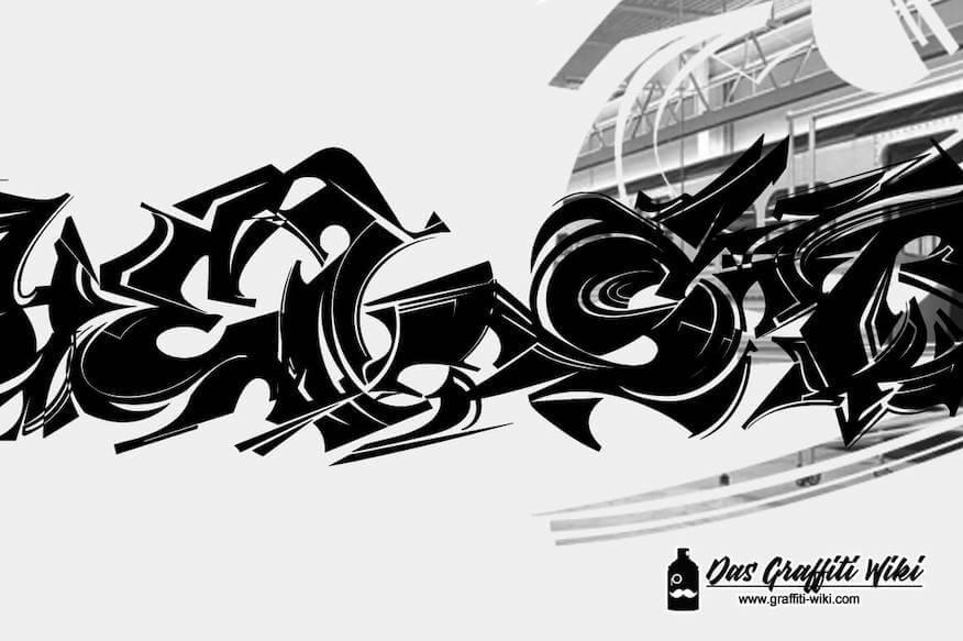 Eine abstrakte Graffiti-Schrift mit Maelstrom