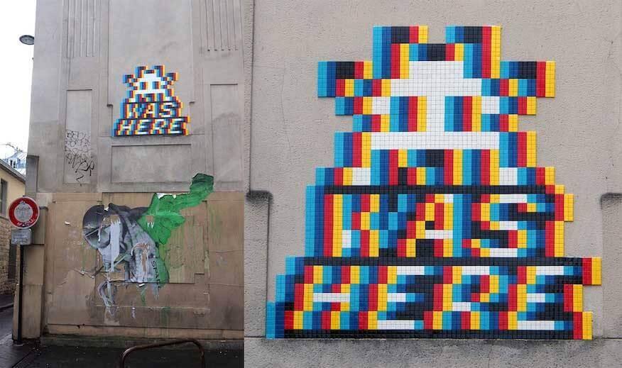 Space Invader Streetart-Technik Kacheln